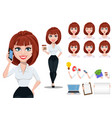 businesswoman cartoon character creation set vector image