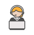 call center agent icon with blond hair and a vector image
