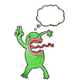 cartoon crazy frog with thought bubble vector image