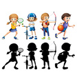 children doing different sports set vector image vector image