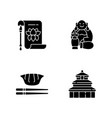 chinese history black glyph icons set on white vector image vector image