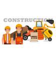 construction workers machinery wheelbarrow mixer vector image vector image