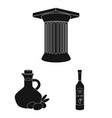 country greece black icons in set collection for vector image vector image