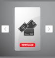 credit card money currency dollar wallet glyph vector image vector image