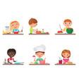 cute cartoon kids preparing food on kitchen vector image