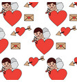 cute cupid shooting arrow heart letter love vector image vector image
