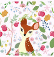 cute little deer in apple branch frame vector image