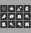 data analysis icon set on black background vector image vector image