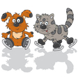 Dog and cat skaters vector image vector image