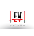 ev e v logo letters with red and black colors and vector image vector image