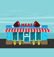 facade of meat shop flat vector image vector image
