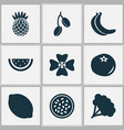 food icons set with citrus ketchup pineapple and vector image