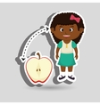 girl cartoon fruit sliced apple vector image