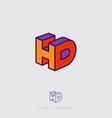 h d letters colorful like block web ui icon vector image vector image