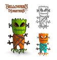 Halloween monsters scary mask trunk freak EPS10 vector image vector image