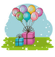 happy birthday card with gifts and balloons helium vector image vector image