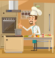 happy smiling chef character kitchen preparing vector image vector image