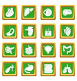 internal human organs icons set green square vector image vector image