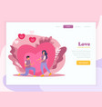 love couple flat landing page composition vector image vector image