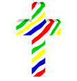 multicolored three-dimensional cross on white vector image