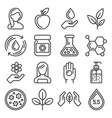 organic cosmetics icons set on white background vector image