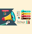 paper infographic design with megaphone and vector image vector image