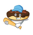playing baseball maple bacon bar character cartoon vector image