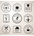 Restaurant menu labels black vector image