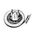 roasted chicken doodle vector image