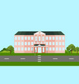 school building facade in summer time vector image vector image