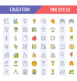 set flat line icons education vector image