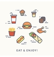 Set of junk food contour icons burger with hotdog vector image vector image