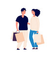 shopping time isolated flat man woman with eco vector image vector image