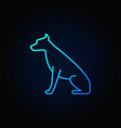 sitting dog blue icon vector image vector image