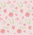 tender floral pattern with pink flowers and leaves vector image vector image