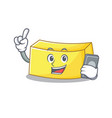 with phone butter character cartoon style vector image vector image