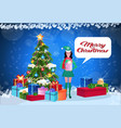 woman elf costume holding gift box standing near vector image vector image