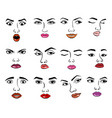 Woman faces emotion face and vector image