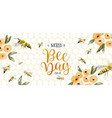 world bee day watercolor flower bees banner