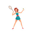young female tennis player with racket and ball in vector image