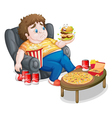 A fat boy eating vector image