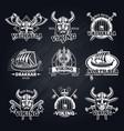 vintage white viking emblems set vector image