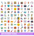 100 student icons set cartoon style vector image vector image