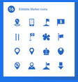 16 marker icons vector image vector image