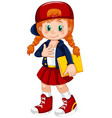 a girl character on white background vector image vector image