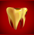bad sick yellow tooth with caries vector image vector image