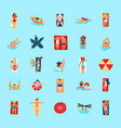 beach people funny flat icons collection vector image vector image