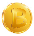 bitcoin one gold coin isolated on white vector image vector image