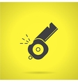Black whistle flat icon vector image