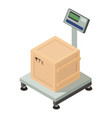 box on scales icon isometric style vector image vector image